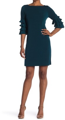 Gabby Skye Tiered Ruffle Sleeve Shift Dress