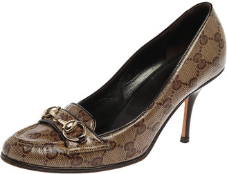 Gucci Brown/Beige Coated Canvas Horsebit Loafer Pumps Size 35.5