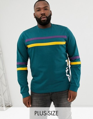 Fila Plus Black Line Daniel Long Sleeve T-Shirt With Logo In Green