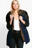 Boohoo Natalie Faux Fur Lined Parka