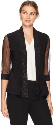 R & M Richards R&M Richards Women's 1 Piece Missy Glitter Jersey and Sheer Coverup
