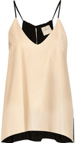 Leather and crepe-jersey camisole