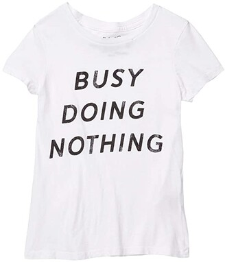 The Original Retro Brand Kids Vintage Cotton Busy Doing Nothing Tee (Big Kids) (White) Girl's Clothing