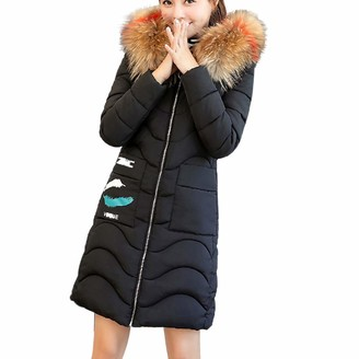Lazzboy Womens Jacket Coat Puffer Quilted Faux Fur Hooded Cotton-Padded UK 6-14(M(6)