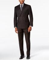 Lauren Ralph Lauren Men's Classic-Fit Ultraflex Dark Brown Pinstripe Flannel Double Breasted Suit