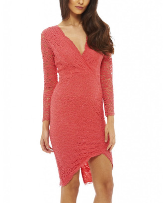 AX Paris Women's Casual Dresses Coral - Coral Lace Surplice Bodycon Dress - Women