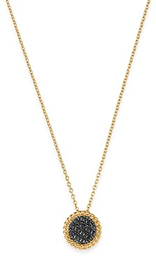 Bloomingdale's Black Diamond Disc Pendant Necklace in 14K Yellow Gold, 0.2 ct. t.w. - 100% Exclusive