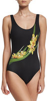 Onia Kelly Floral-Print One-Piece Swimsuit, Black