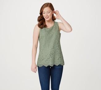 Isaac Mizrahi Live! Floral Knit Lace Tank Top w/ Scallop Hem