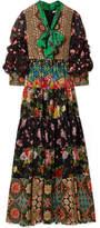 Alice + Olivia Clementine Printed Silk Crepe De Chine Maxi Dress - Black
