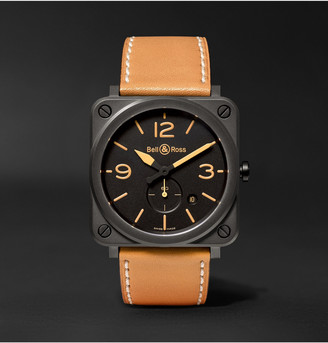 Bell & Ross Br S Heritage 39mm Ceramic And Leather Watch, Ref. No. Brshericem