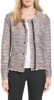 Petite Women's Halogen Zip Detail Tweed Jacket