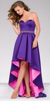 Jovani Color Blocked High Low Rhinestone Belted Evening Dress