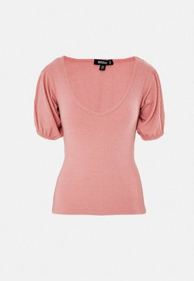 Missguided Pink Rib V Neck Puff Sleeve T Shirt