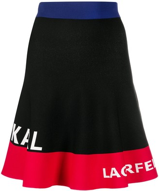 Karl Lagerfeld Paris Color-Block Logo Skirt