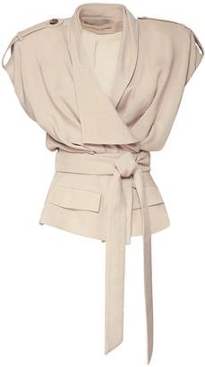 Alexandre Vauthier Crepe Self-Tie Sleeveless Jacket