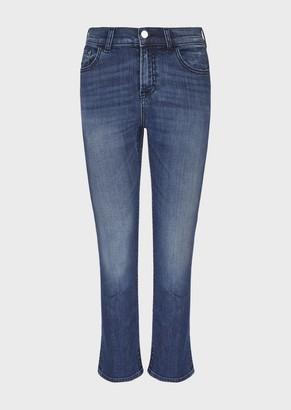 Emporio Armani Flared J44 Cropped Jeans In Comfort Worn-Wash Denim