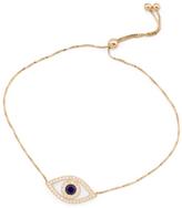 Made In USA 14k Gold Cubic Zirconia Evil Eye Adjustable Bracelet