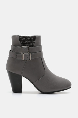 Ardene Faux Leather Buckle Booties - Shoes |