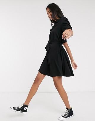 Pimkie button front shirt dress in black
