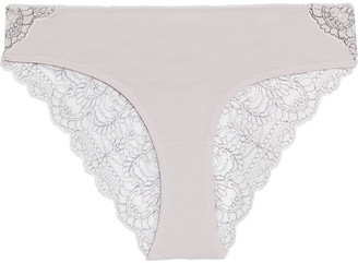 Skin Stretch Organic Pima Cotton And Embroidered Lace Mid-rise Briefs