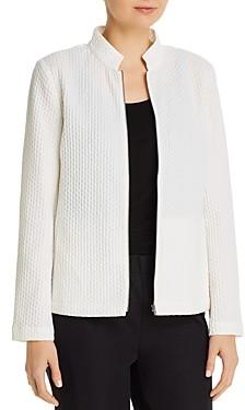 Eileen Fisher Honeycomb Stand-Collar Zip Jacket