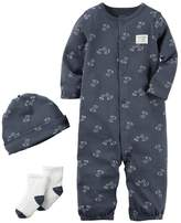 Carter's Baby Boy Dog Coverall, Hat & Socks Set