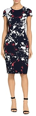 St. John Graphic Floral Jacquard Knit Dress