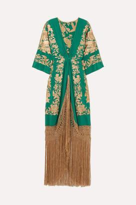 Johanna Ortiz Contigo En La Distancia Fringed Embroidered Silk Maxi Dress - Green