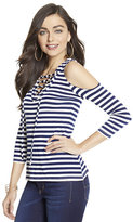 New York & Co. Manhattan Tee - Lace-Up Cold-Shoulder Top - Stripe