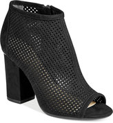 Bar III Megan Perforated Peep-Toe Block-Heel Booties, Only at Macy's