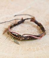 Nautilus Goldtone & Brown Leather Leaf-Accent Wrap Bracelet
