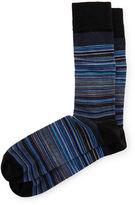 Neiman Marcus Merino-Blend Skinny-Stripe Socks