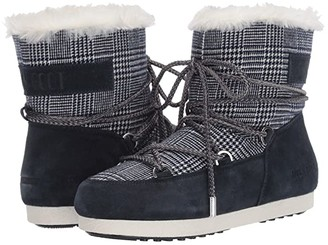 Moon Boot r) Far Side Low Faux Fur/Tartan (Blue) Women's Boots