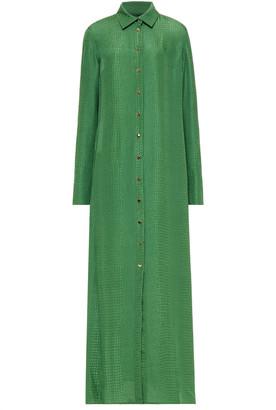 Olivia von Halle Snake-print Silk-jacquard Maxi Shirt Dress