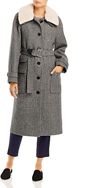Marron Edition By W Concept Marron Edition Ecru Collar Long Coat