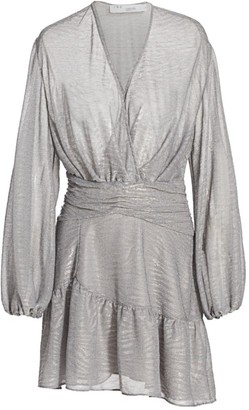 IRO Gesta Metallic Faux Wrap Mini Dress