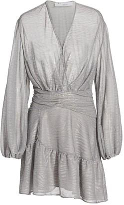 IRO Gesta Metallic Faux Wrap Mini Dress