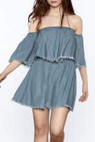 Elan Denim Ruffle Dress
