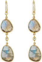 Penny Preville 18k Double-Drop Labradorite & Diamond Earrings