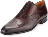 Magnanni Hand-Antiqued Leather Wing-Tip Oxford, Burgundy