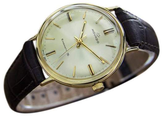 Movado King Matic 14K Solid Gold Swiss Men's Automatic Dress c1960 Watch