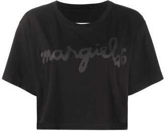 MM6 MAISON MARGIELA Logo Printed Cropped Top