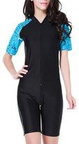 FOREVER YUNG Women UV Sun Protection Short-Sleeve Rash Guard Jumpsuit Blue-Black L