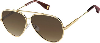 Marc Jacobs Metal Aviator Sunglasses, Gold/Brown