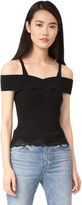 Alexander Wang Ribbed Knit Cropped Tank with Lace Hem