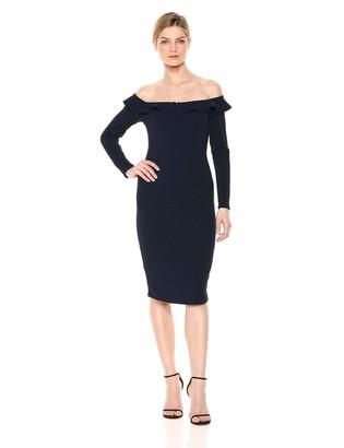 BCBGeneration Women's Cocktail Off Shoulder Ruffle MIDI Dress