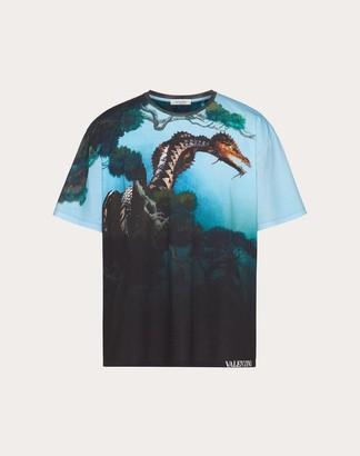 Valentino All-over Dragons Garden T-shirt Man Multicolored 100% Cotone L