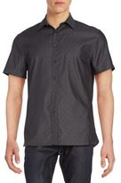 Perry Ellis Dotted Dobby Cotton Short Sleeve Shirt