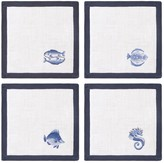Tory Burch EMBROIDERED FISH COCKTAIL NAPKIN, SET OF 4